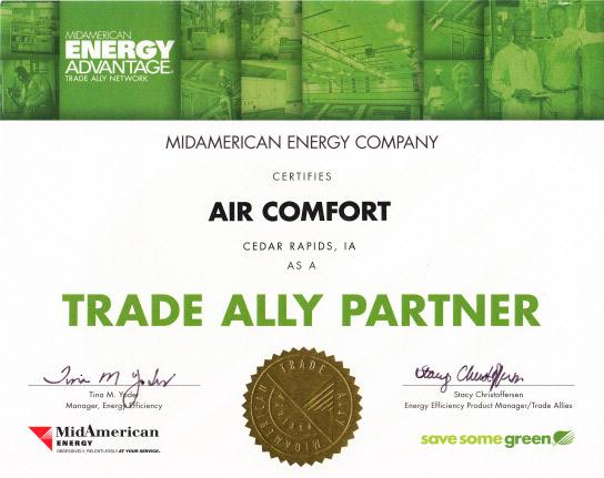 Rest easy with Air Comfort, Cedar Rapids, IA providing HVAC repairs.